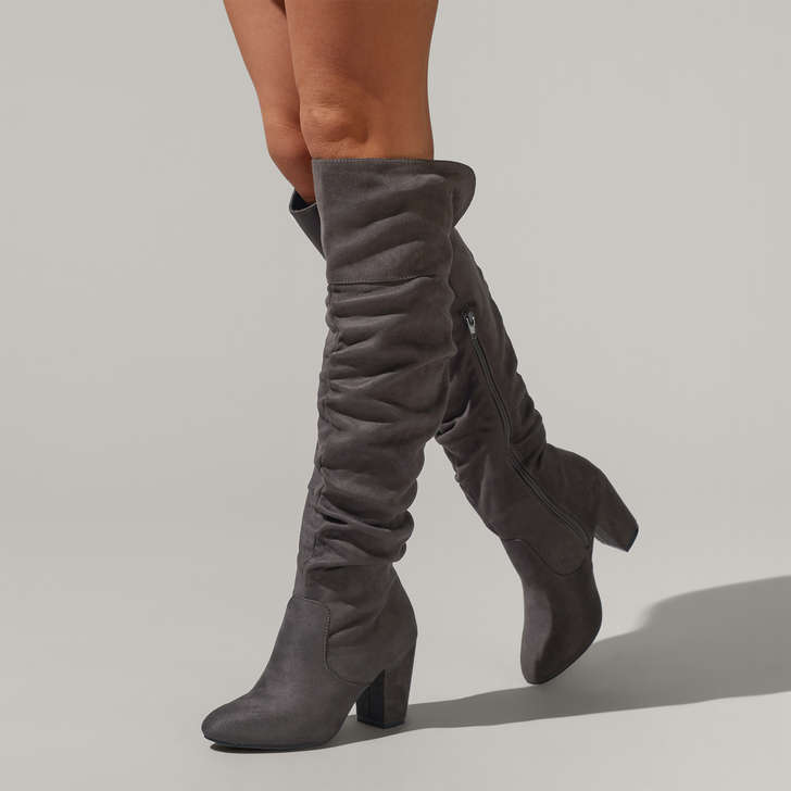 70533910a2f Healey Grey Mid Heel Over The Knee Boots By Miss KG