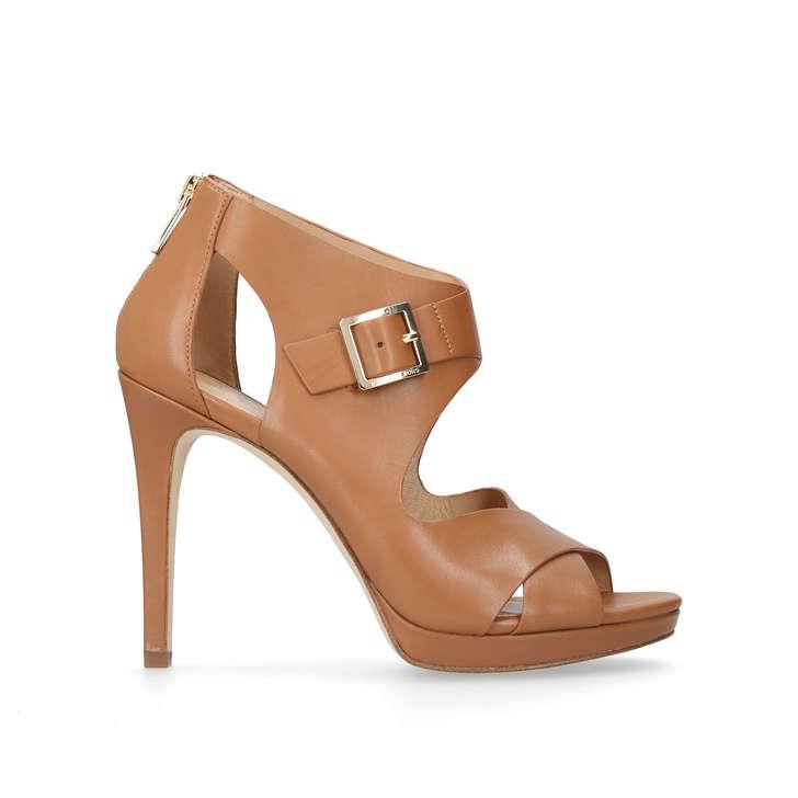 3ac0e1603aa3 Kimber Platform Tan High Heel Sandals By Michael Michael Kors