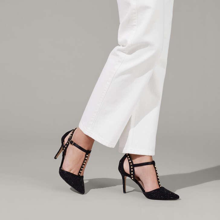 Kankan Jewel Black Studded Court Shoes