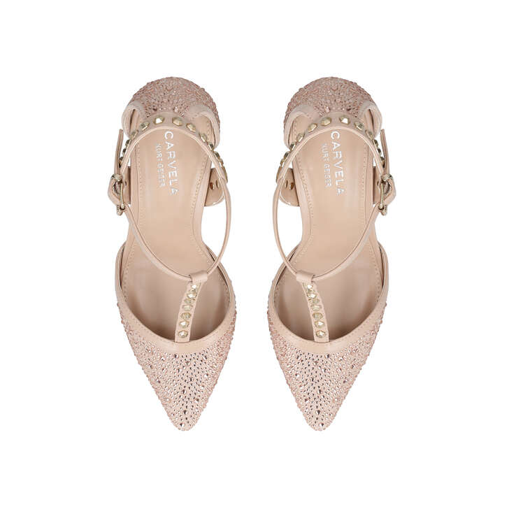 6ab5d5e17e3 Kankan Jewel Nude Mid Heel Court Shoes By Carvela