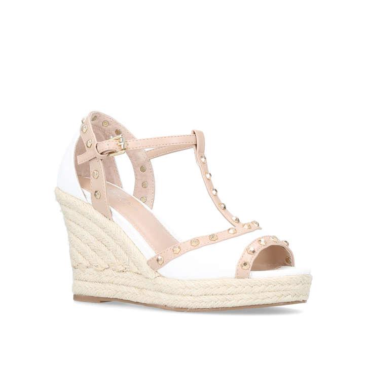 0bed214b8b4 Stark Cream Mid Heel Wedge Sandals By Carvela