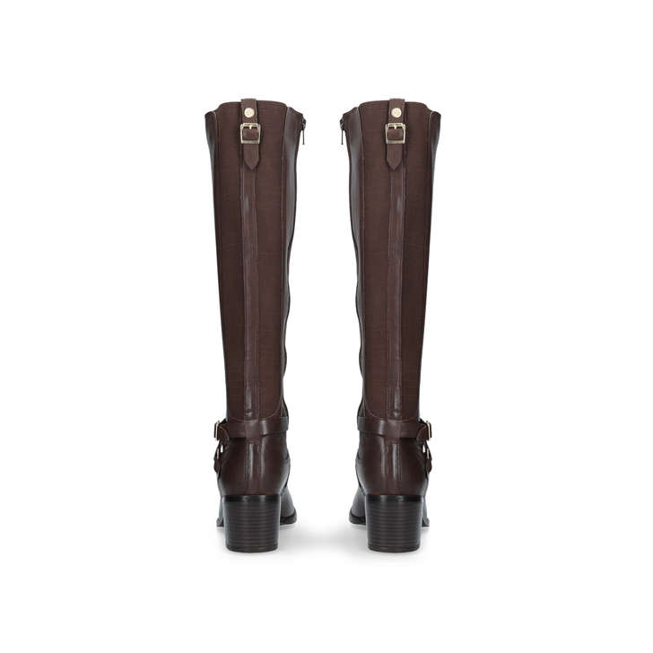 29d4ae6244a Raleigh Brown Mid Heel Knee Boots By Nine West