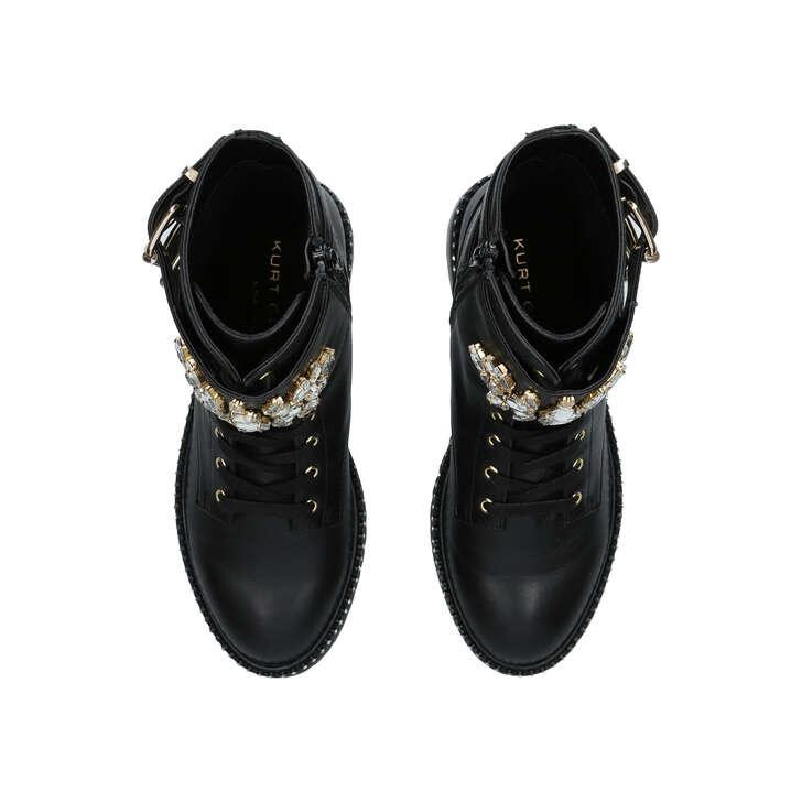 Stoop Black Leather Crystal Biker Boots