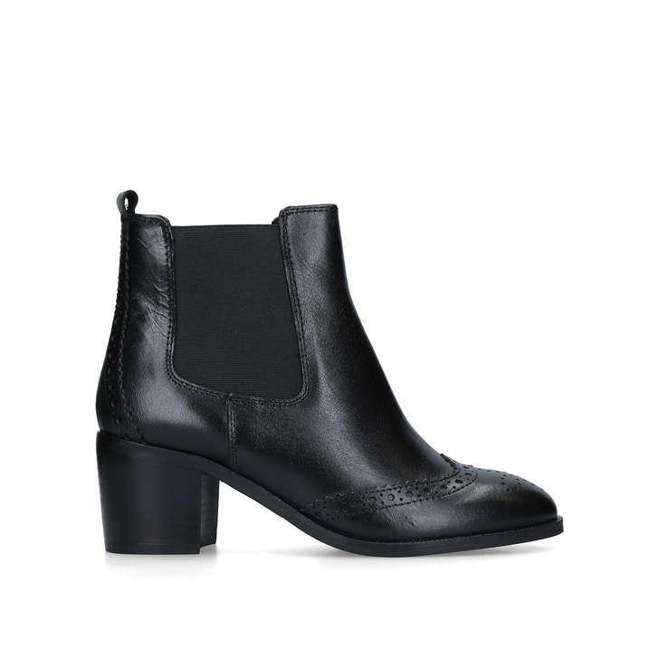 SHAKE Black Leather Block Heel Ankle