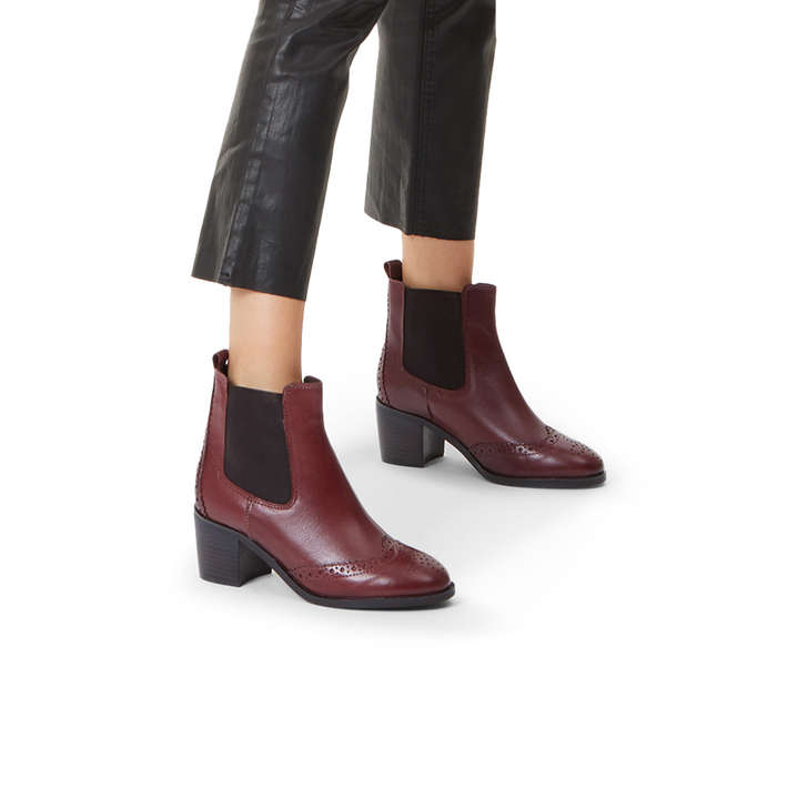 7ea073bebe3d Shake Wine Leather Block Heel Ankle Boots By Carvela