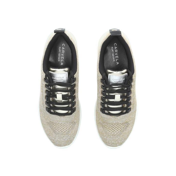Lit Gold Knit Low Top Trainers By