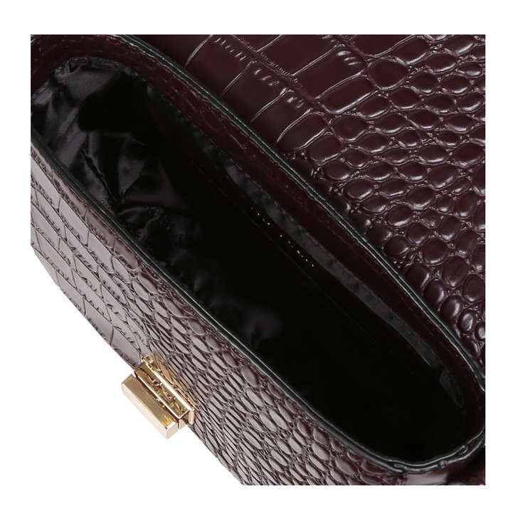 Sara Clean Saddle Bag Wine Croc Print Crossbody Bag By Carvela ... 8d08f97214899