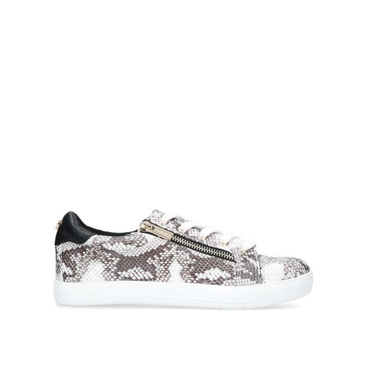 JAGGED Snake Print Zip Sneakers by