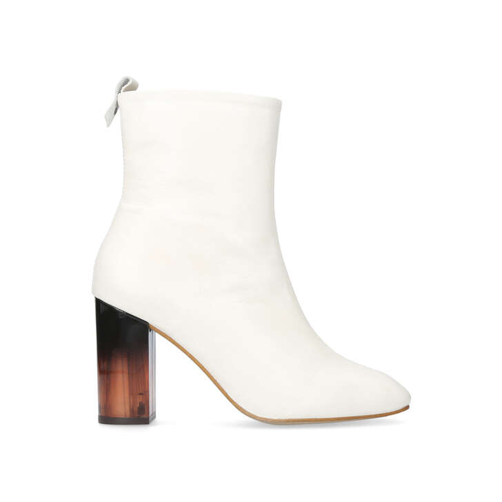 STRUT White Mid Heel Calf Boots by KURT