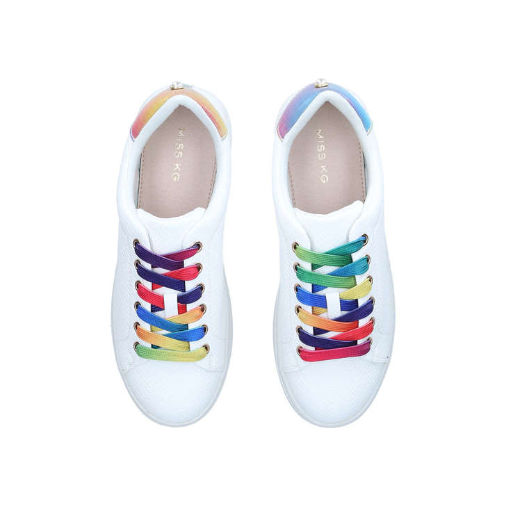 Kori White Rainbow Lace Sneakers By
