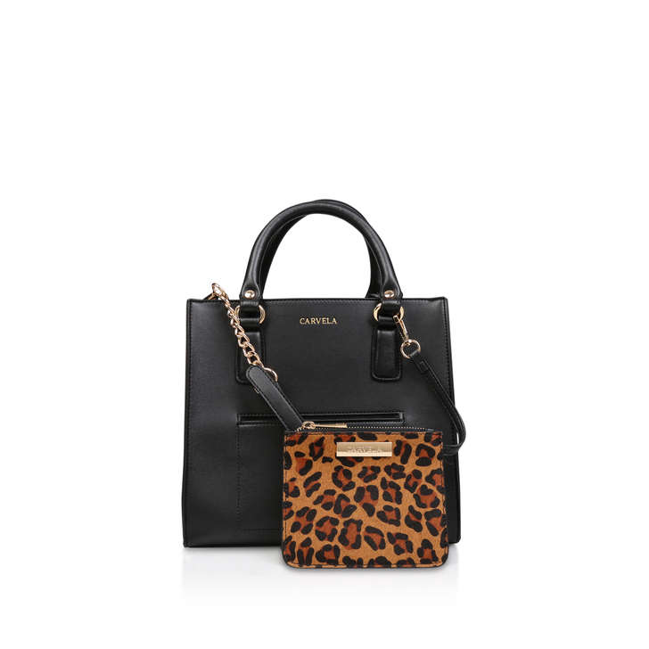 078f4be85b2a Simba Pocket Purse Tote Black Tote Bag With Leopard Purse By Carvela ...
