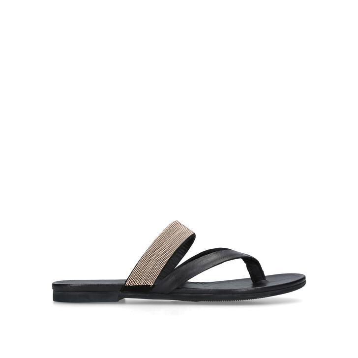 MAE Black Flat Sandals by KURT GEIGER