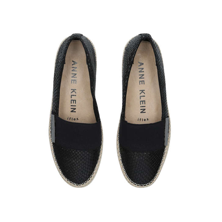 0fc7697ba8e Zilya Black Flat Slip On Shoes By Anne Klein