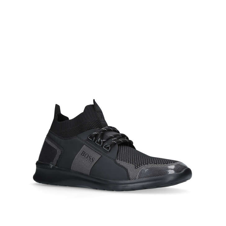 Mens Extreme_Runn_Knit Hi-Top Trainers, Black HUGO BOSS