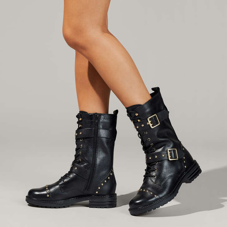 cd930879a7f Sting Black Leather Lace Up Biker Boots By Kurt Geiger London | Kurt Geiger