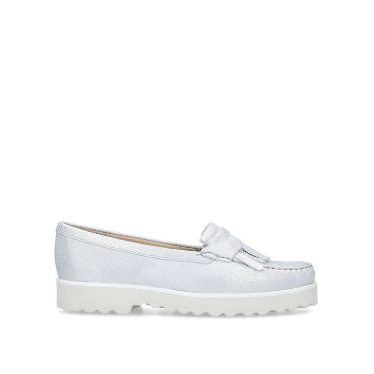 0f92fc2437c Christina Metallic Silver Loafers By Carvela Comfort