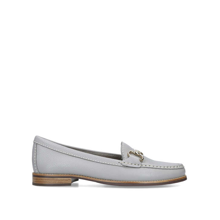 CLICK Grey Leather Flat Loafers by
