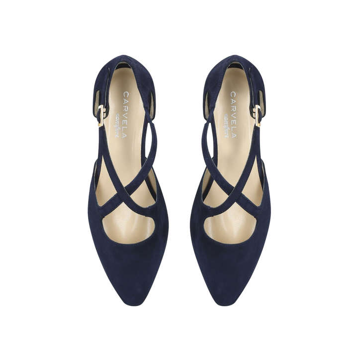 d21c52c09ed Amour Navy Low Heel Court Shoes By Carvela Comfort