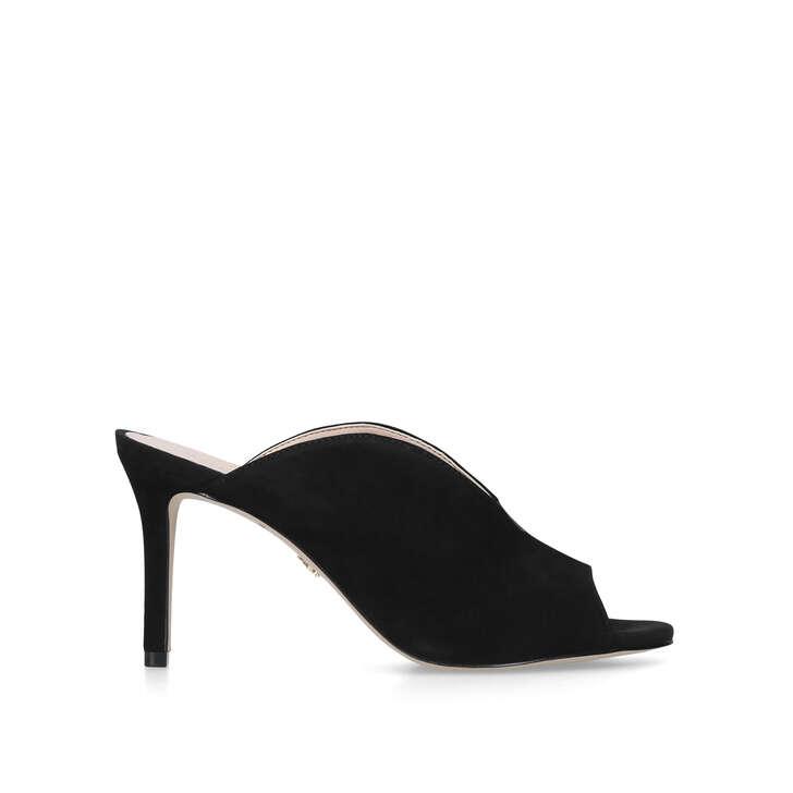 BROADWICK Black Mid Heel Mules by KURT