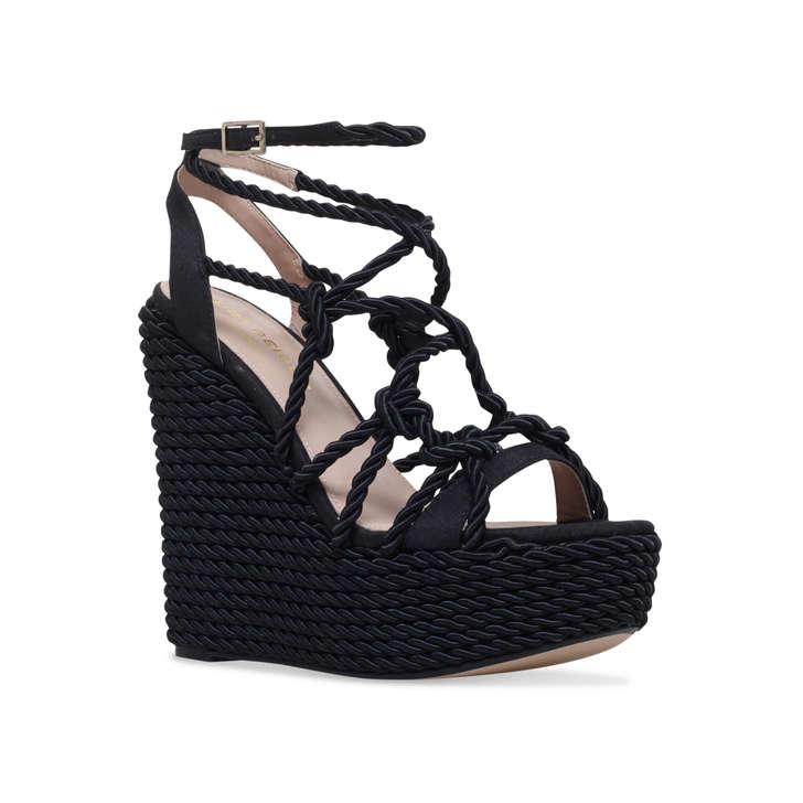 d3e5b365dd0 Notty Black High Heel Wedge Sandals By Kurt Geiger London