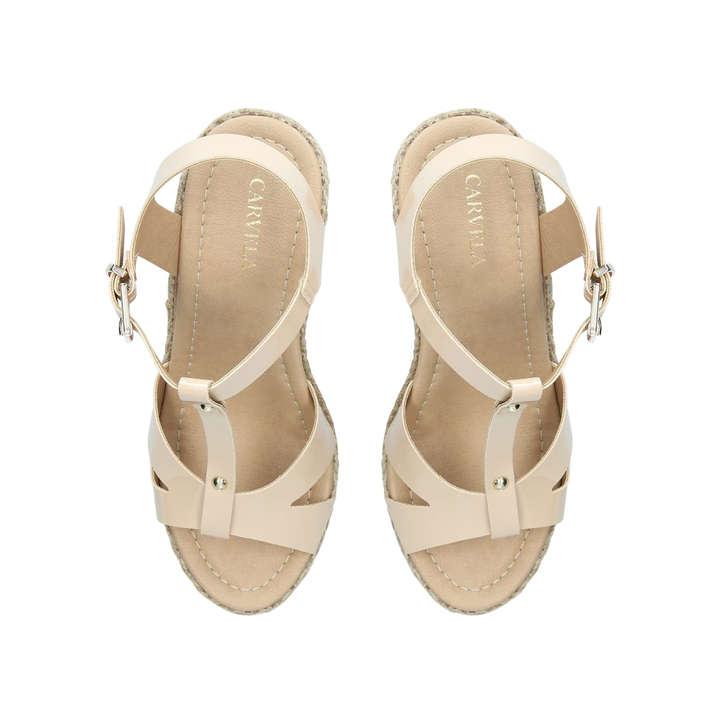 b61f3e6c0 Karoline Nude High Heel Wedge Sandals By Carvela | Kurt Geiger