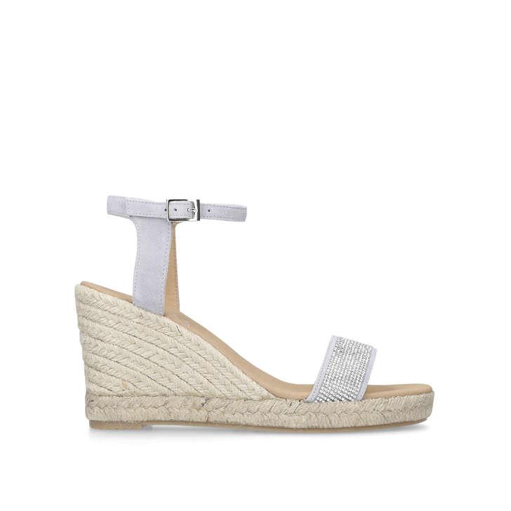 d1d796b1e3728 Krystal Grey Mid Heel Espadrille Wedge Sandals By Carvela | Kurt Geiger