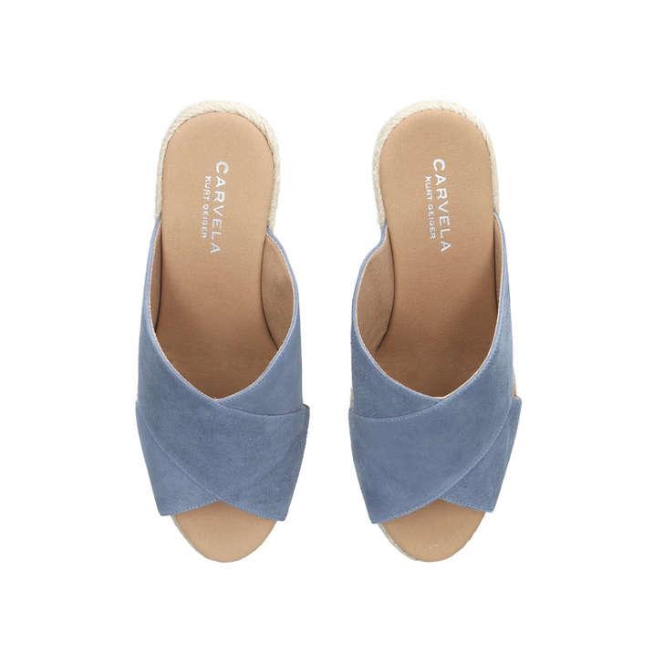 12ed056069e6 Karp Blue Mid Heel Wedge Sandals By Carvela