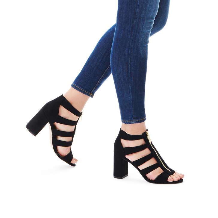8269928992ba Fate Black Mid Heel Sandals By Miss KG