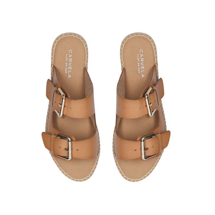 ed67fa0eac8d Klever Tan Flatform Espadrille Sandals