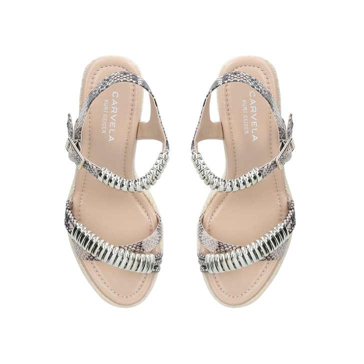 Carvela Slipper - nude snake print wedge sandals Outlet Top Quality JaH3I
