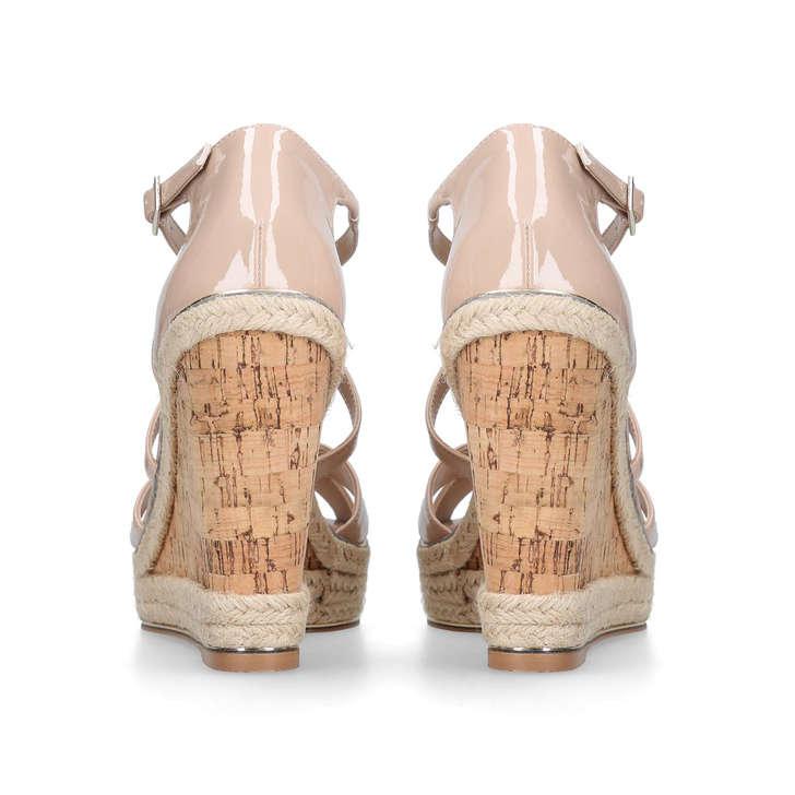 Sublime Nude High Heel Wedge Sandals By Carvela Kurt Geiger