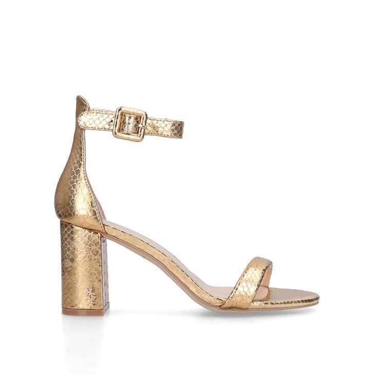 LANGLEY Gold Snake Effect Block Heel Sandals by KURT GEIGER