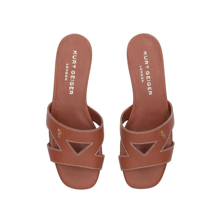 faae7c81718 Odina Tan Flat Slip On Sandals By Kurt Geiger London | Kurt Geiger