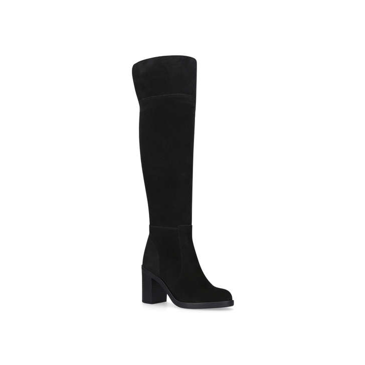 c6a780c556c Tring Black Suede Block Heel Over The Knee Boots By Kurt Geiger London