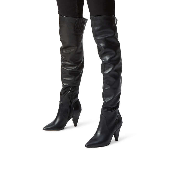 779f8613e98 Violet Black Leather Heeled Over The Knee Boots By Kurt Geiger ...