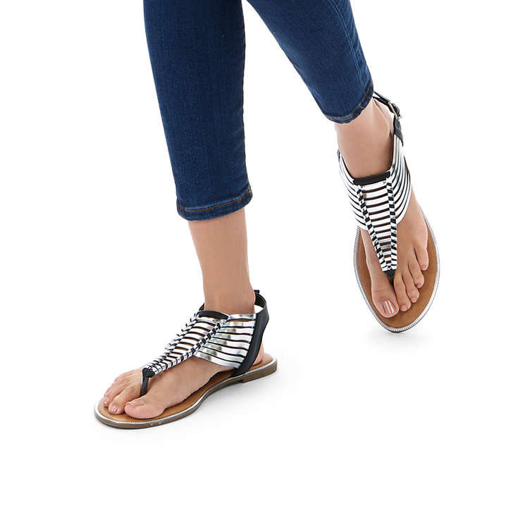 d82036eeb7e6 Ripe Metallic Black Strappy Sandals By Miss KG
