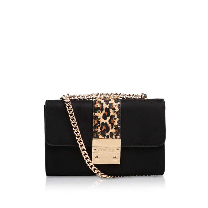 Kankan X Body Leopard Detail Black Crossbody Bag By Carvela  534c1c85e0c4e