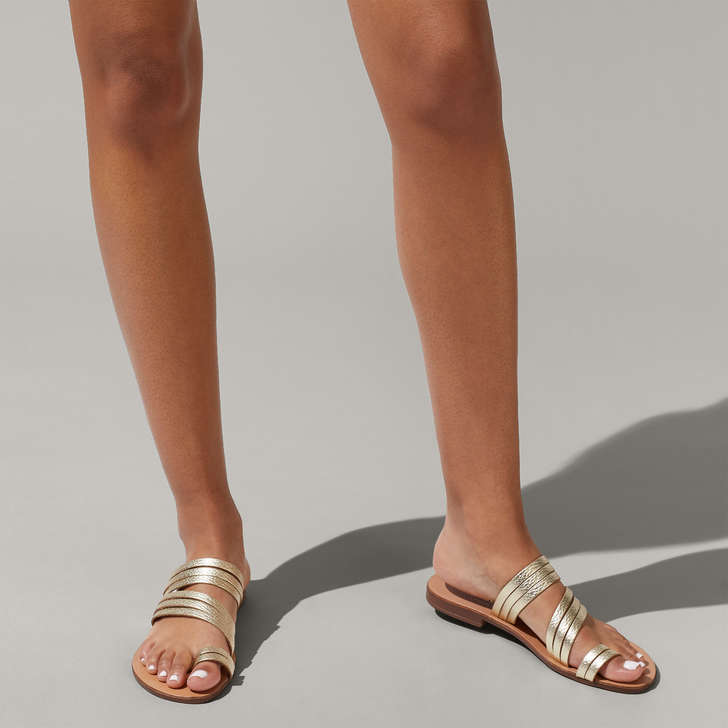 dd7eaddb8a6158 Deliah Gold Flat Sandals By Kurt Geiger London