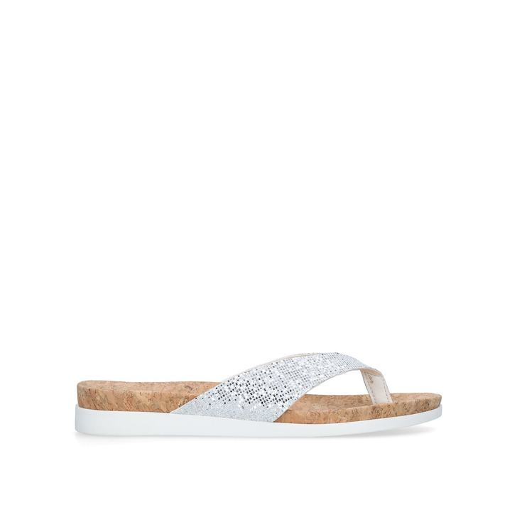 2b1dfe0c1 Barb Silver Flat Sandals By Carvela