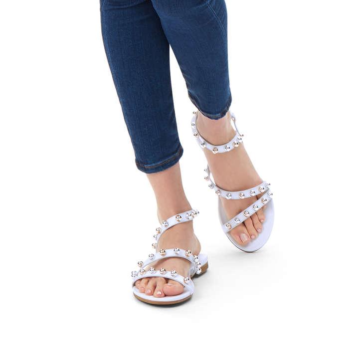 3e3cbeea4411 Mia White Studded Flat Sandals By Kurt Geiger London