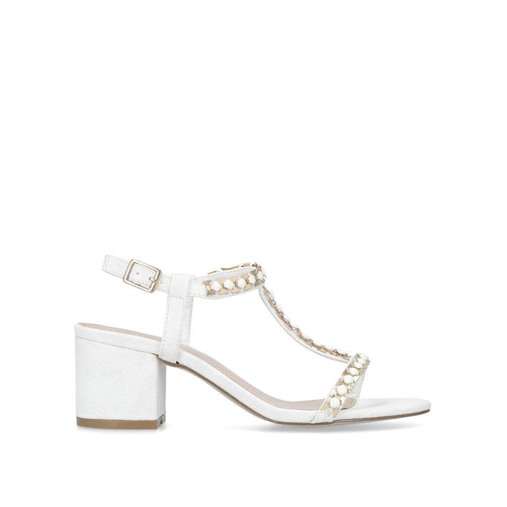 87d28f02e0d Blazen White Mid Heel Sandals By Carvela
