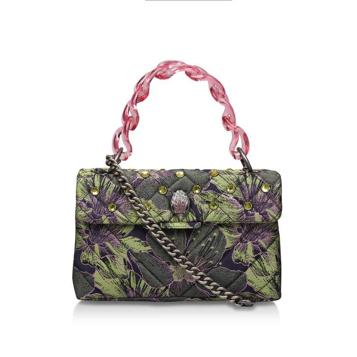 Fabric Kensington X Bag Green Floral Studded Shoulder Bag