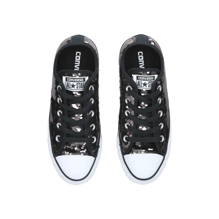 01d2f1d4873710 Ct Sequin Low Gunmetal Grey Low Top Trainers By Converse