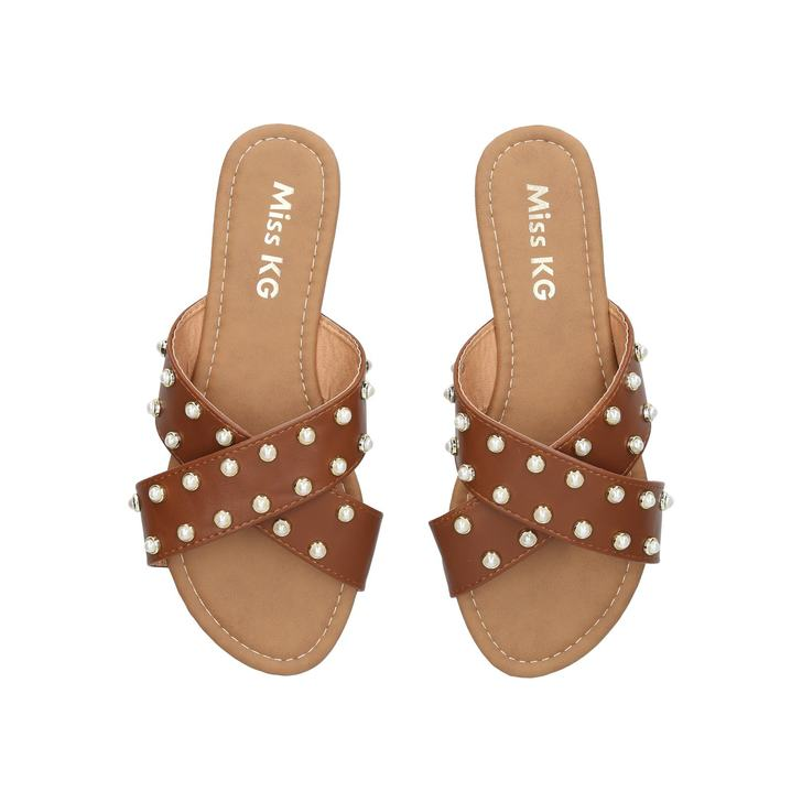 1869d622c40 Rocco Tan Studded Flat Sandals By Miss KG
