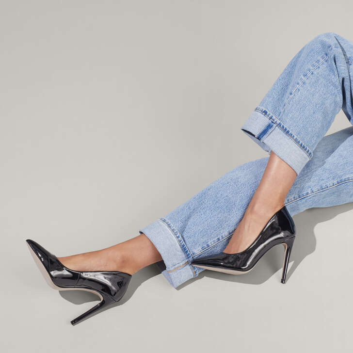 3168719e1d3 Cayleb Black Stiletto Court Heels By Miss KG