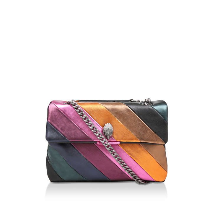06cce0dc589 Lthr Lg Kensington S Bag Metallic Rainbow Stripe Shoulder Bag By Kurt  Geiger London | Kurt Geiger