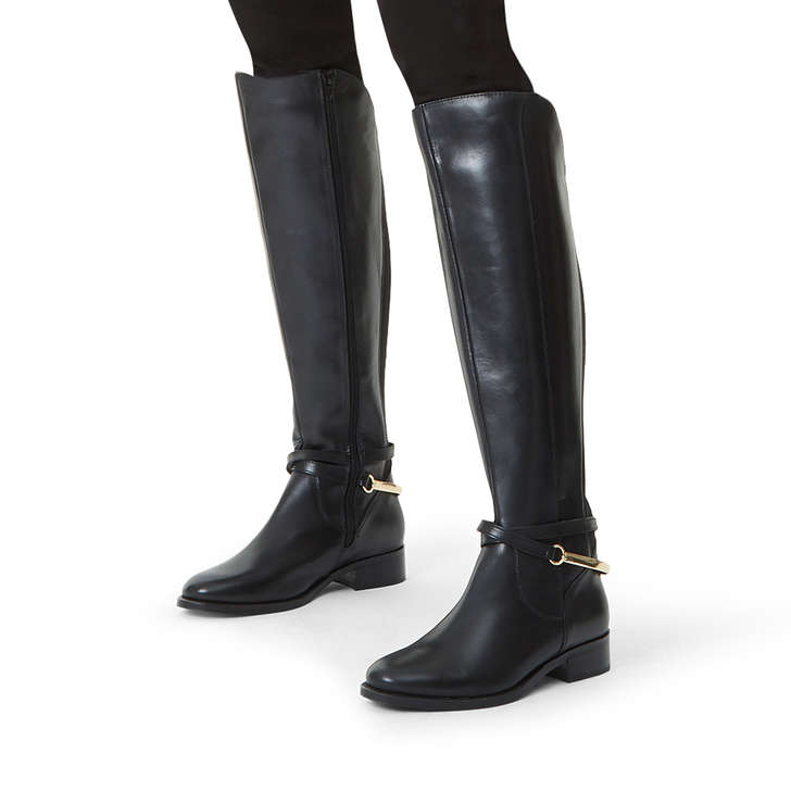Parading Black Leather Knee High Boots