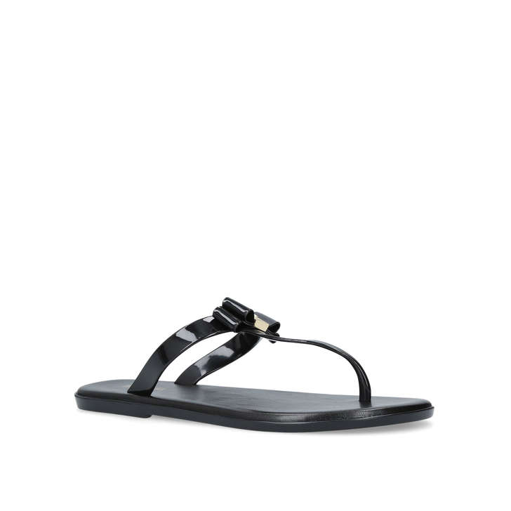 e22069139 Caroline Jelly Thong Black Flat Jelly Sandals By Michael Michael Kors