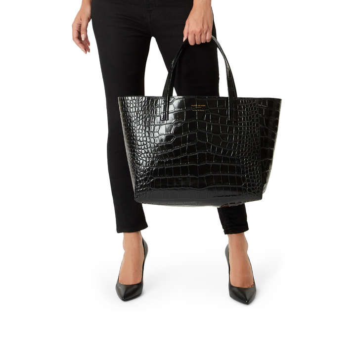 d76ac6bb9b7 Violet Horizontal Tote C Black Leather Tote Bag By Kurt Geiger ...