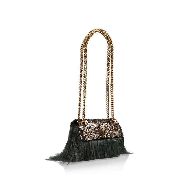 23e738836584 Faux Fur Mini Kensington Sequinned Faux Fur Mini Shoulder Bag By Kurt  Geiger London